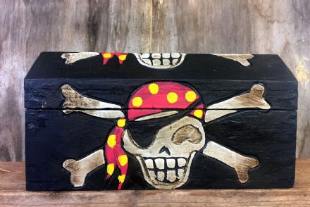 Medium Hand Carved Wooden Pirate Skull & Bones Wooden Chest